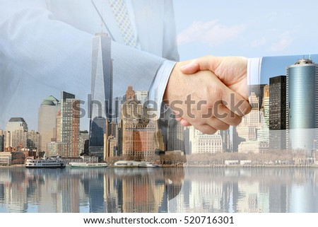 Closeup of handshake on urban background