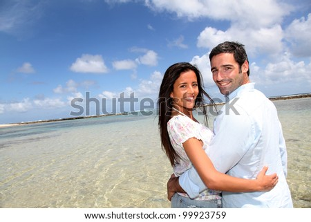 Closeup of happy couple on honeymoon travel