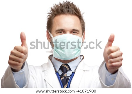 Closeup of happy doctor expressing success by showing thumbs. Isolated on white. - stock photo