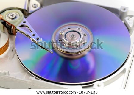 Closeup of hard disk drive with DVDR color in blue