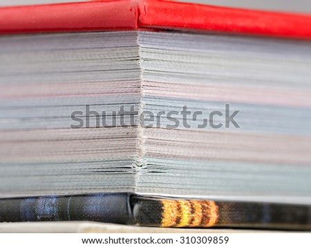 Closeup of hardcopy book - stock photo