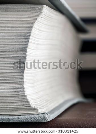Closeup of hardcopy book - stock photo