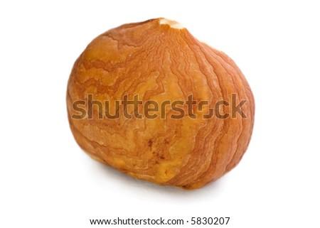 Closeup of hazel nuts kernel isolated on white background. - stock photo