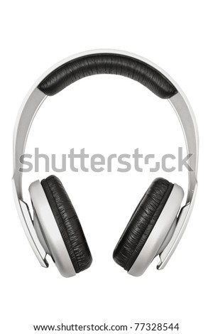 Closeup of headphones, isolated on white background - stock photo
