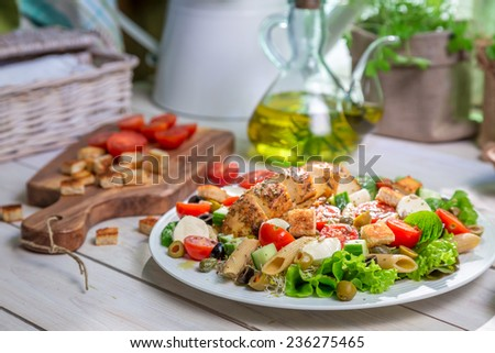 Closeup of healthy salad with vegetables - stock photo