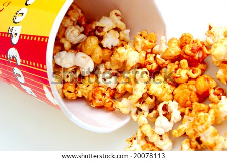 closeup of heap of popcorn - stock photo