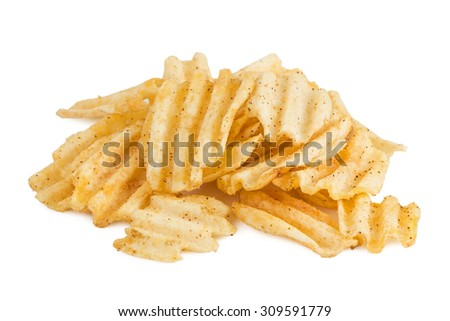 Closeup of heap of potato chips isolated on white background. - stock photo