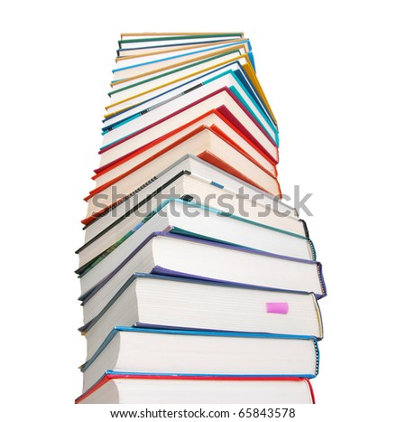 Closeup of high level books tower background