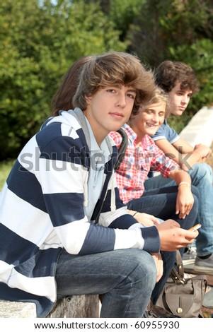 Closeup of high-school student - stock photo