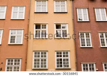 closeup of historic architecture in Gdansk, Poland - stock photo