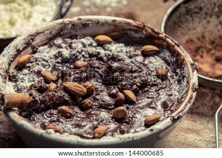 Closeup of homemade chocolate with almonds - stock photo
