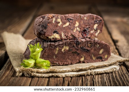 Closeup of homemade chocolate with hazelnuts - stock photo