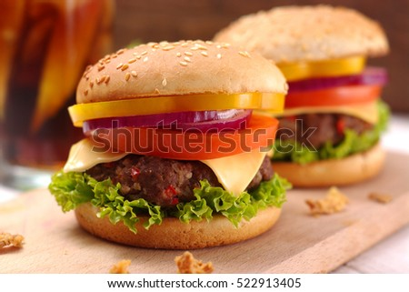 Closeup of homemade hamburger with fresh vegetables