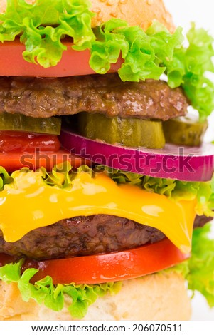Closeup of homemade hamburger with fresh vegetables. Whole background.