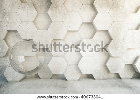 Closeup of honeycomb patterned wall in room with hanging chair. 3D Rendering - stock photo