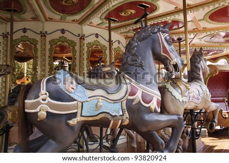 closeup of horses on a carousel