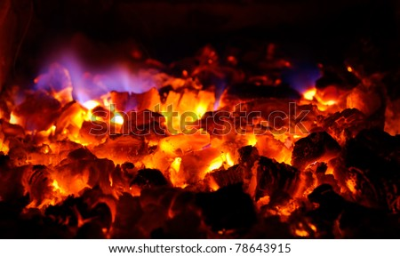 closeup of hot burning coals