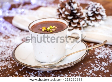 Closeup of hot chocolate cocoa , the perfect winter comfort food  - stock photo