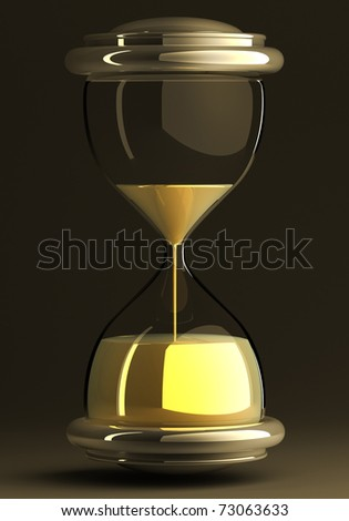 closeup of hourglass in warm black and dark  isolated on white background 3d render. with clipping path