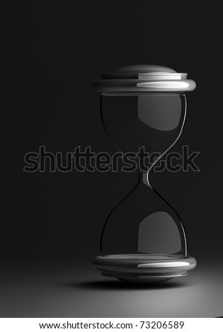 closeup of hourglass in warm black and dark  isolated on white background 3d render. with clipping path - stock photo