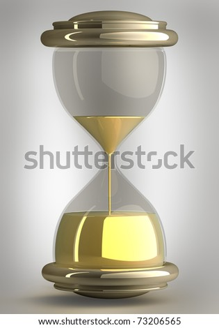 closeup of hourglass in warm black and white  isolated on white background 3d render. with clipping path