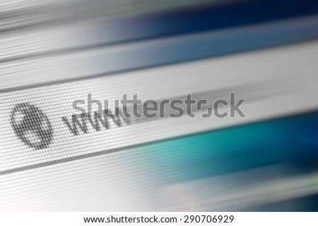 Closeup of Http Address in Web Browser in Shades of Blue - Shallow Depth of Field - stock photo