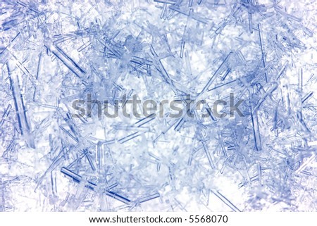 Closeup of ice crystals with very shallow DOF - stock photo