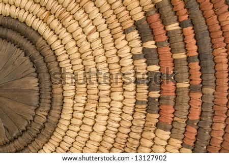 Closeup of Indian Basket in Earth Tones - stock photo