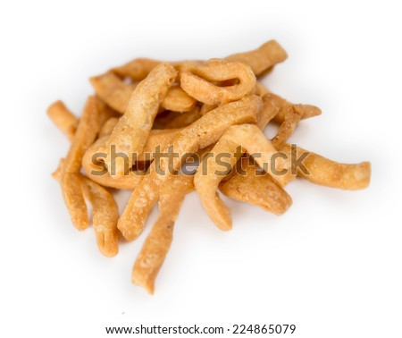 Closeup of Indian matri finger fast food against a white background