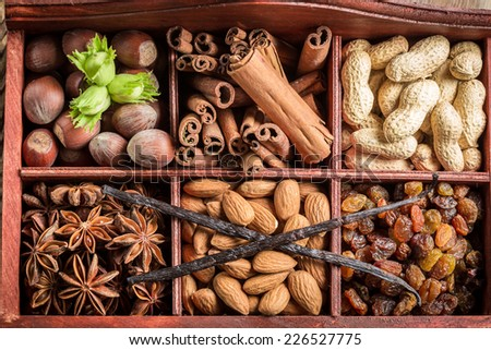 Closeup of ingredients and nuts for chocolate - stock photo