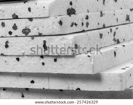 Closeup of insulation styrofoam panels with graphite additive - stock photo