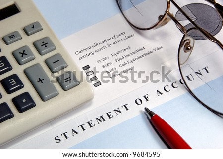 Closeup of Investment and General Business Symbols - stock photo