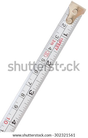 Closeup of isolated measuring tape on white background