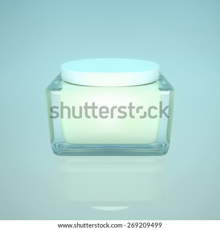 Closeup of jar of moisturizing face  beauty cream on a blue background. - stock photo