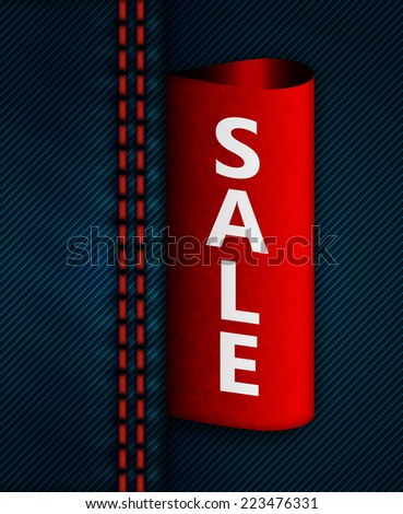 closeup of jeans sam with red sale label - stock photo
