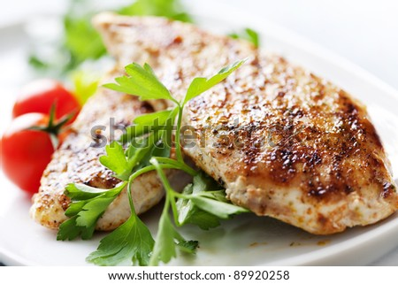 closeup of juicy grilled chicken fillet - stock photo