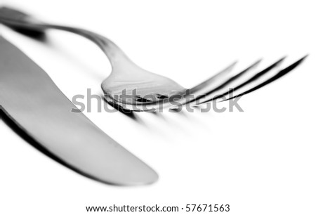 Closeup of knife and fork