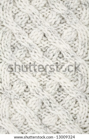 Closeup of Knitted Cables in a Sweater - stock photo