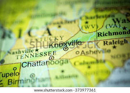 Closeup of Knoxville, Tennessee on a political map of USA. - stock photo