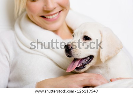 Closeup of Labrador puppy on the hands of smiley woman in white sweater - stock photo