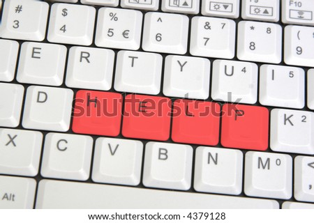 Closeup of laptop keyboard with sign HELP - stock photo