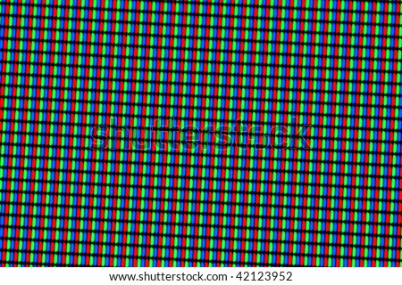 Closeup of LCD screen (red,green,blue pixels)
