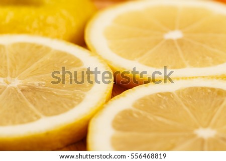 Closeup of lemon slices, low focus, blurry