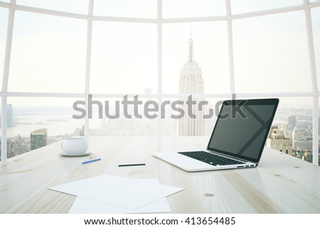 Closeup of light wooden desktop with blank notebook, coffee cup and paper sheets with window and New York city view in the background. Mock up, 3D Rendering - stock photo