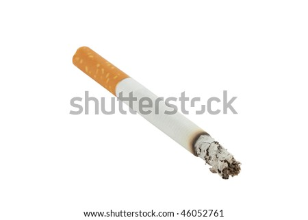 closeup of lit cigarette with ash isolated on white background - stock photo