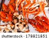 Closeup of lobsters, crabs and king crabs in Bergen fish market, Norway - stock photo