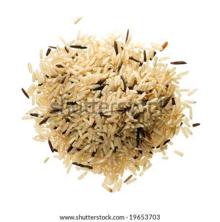 Closeup of long rice mixed with wild rice isolated on white - stock photo