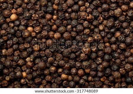 Closeup of lots of dried black peppercorns - stock photo