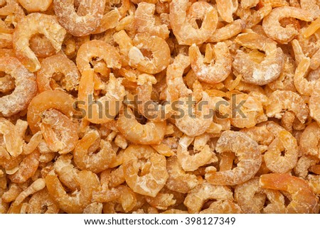 Closeup of lots of dried shrimps - stock photo