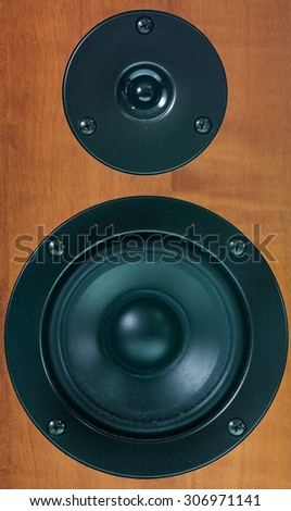 Closeup of loudspeaker of audio system